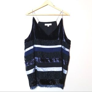 Loft Lace Velvet Navy Black Tank Blouse Size XL
